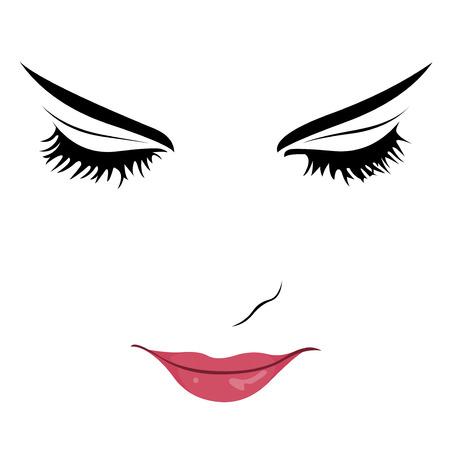 Clip-Art-Porträt der schönen jungen Frau mit geschlossenen Augen meditieren oder Lesen Leicht editierbare geschichteten Darstellung