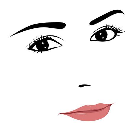 geschlossene augen: Junge sch�ne Frau mit nachdenklichen L�cheln Illustration