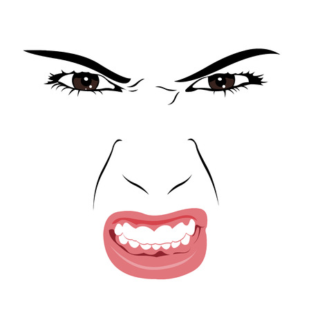 mouths: Angry woman face portrait