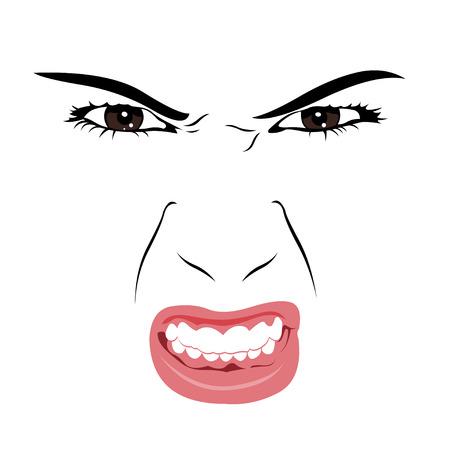 Boze vrouw gezicht portret Stock Illustratie