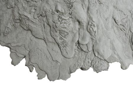 Flüssigkeit frisch Zement Textur auf weißem Hintergrund Standard-Bild