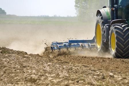 Tractor harrowing detail
