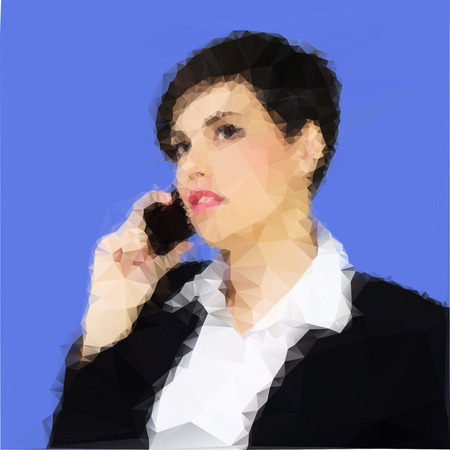 black hair blue eyes: Young business woman on the phone  Polygon geometric vector illustration