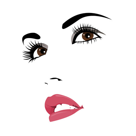 line up: Easy editable layered illustration of beautiful confident woman with makeup looking up
