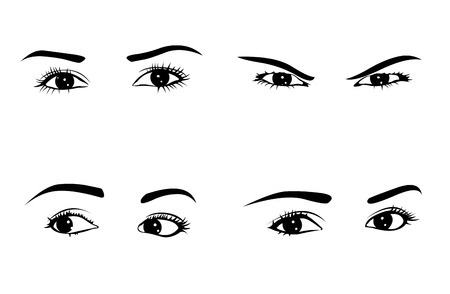 Different woman eyes emotions set   Vector