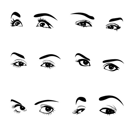 Various female eyes collection  Illustration