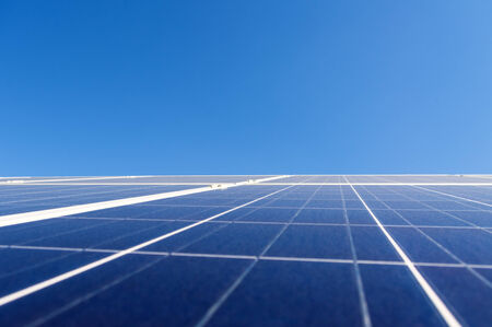 voltaic: Solar photovoltaic panel over clear blue sky