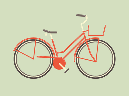Flat design minimalistic simple female cycle with basket   Vector