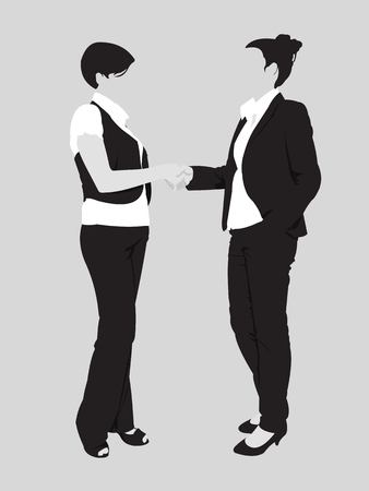 shake hands: Two business woman handshake detailed silhouette  Easy editable layered vector illustration