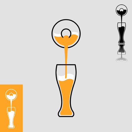 beer label design: Simple minimalistic icon of beer pour from bottle to glass  Easy editable layered flat design vector illustration Illustration