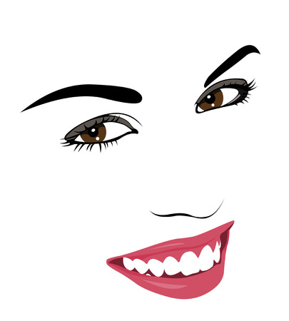 smile faces: Outline pop art style smiling happy woman portrait  Easy editable layered vector illustration