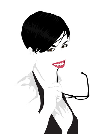 Detailed vector portrait of young beautiful woman holding glasses in her mouth  Easy editable layered clip art