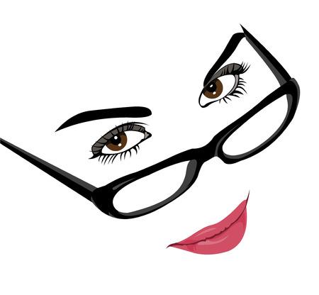 流行に敏感なメガネ簡単に編集可能な階層型ベクトル イラストを着た美しいスマート若い女性の肖像画