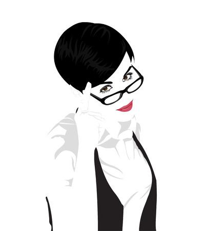 smart: Gemakkelijk bewerkbare gelaagde vector portret van jonge mooie korte haren vrouw draagt een bril met een vinger op haar tempels