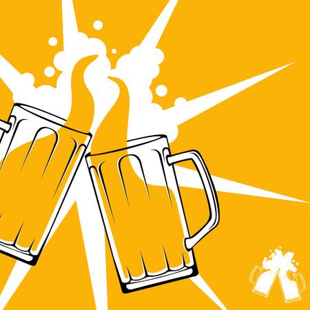 Bier toast cheers begrip Eenvoudige moderne gemakkelijk bewerkbare gelaagde vector illustratie