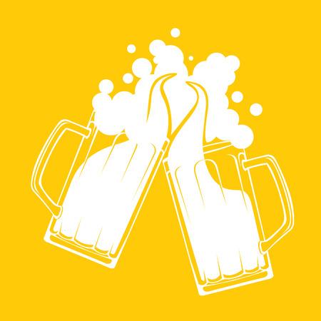 stein: Beer toast splash concept  Simple modern flat design layered vector illustration Illustration