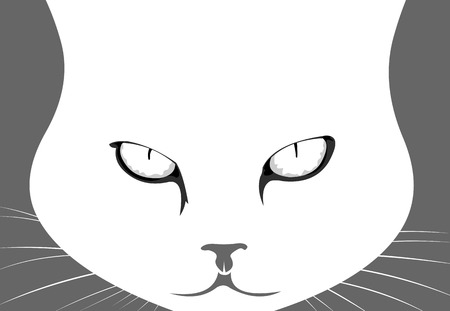 Mad angry cat head close up concept  Easy editable layered vector illustration Illustration