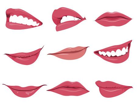 boca cerrada: Establecer o colección de varios tipos de labios Vectores