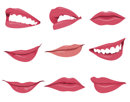 Set or collection of various type of lips Vector