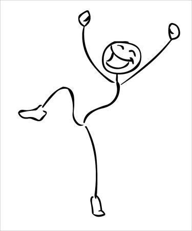 Felice di salto uomo bastone illustrazione Vettoriali