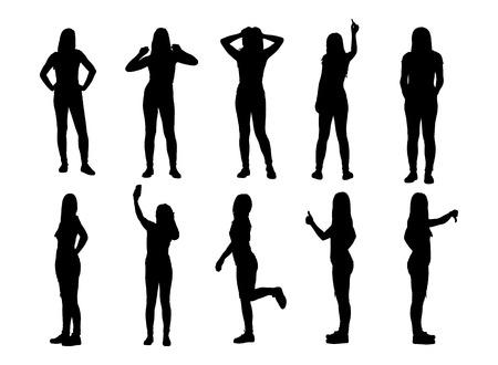 mujer cuerpo completo: Conjunto de varias siluetas de mujer posando. Ilustraci�n vectorial Vectores
