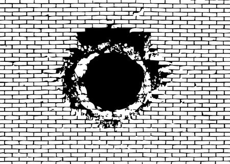 Explosion hole on the brick wall. Vector illustration Illustration