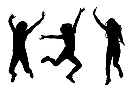 Happy jumping woman silhouette collection set. Vector illustration Vector