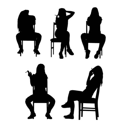 women smoking: Smoking and sitting woman silhouette collection set. Vector illustration.