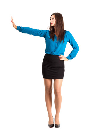 no heels: Business woman with stop hand gesture. Full body length isolated over white background. Stock Photo