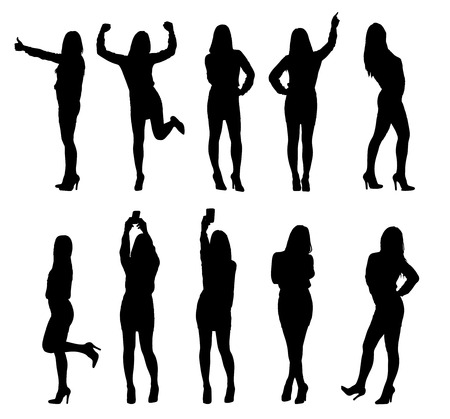 arms raised: Set or collection of various business woman silhouettes in different poses.  Illustration