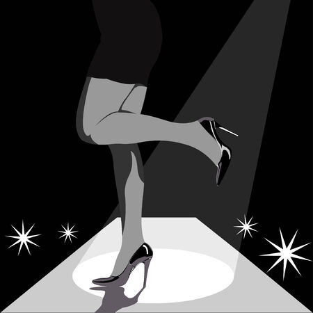 heels shoes: Fashion woman legs in high heels on the stage or catwalk with lights and camera flashes in the background. Black and white easy editable layered vector illustration.