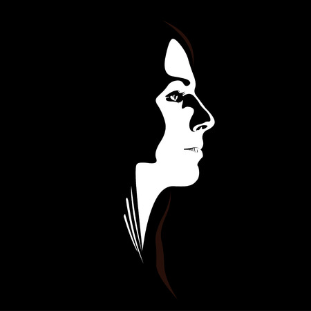 abstract portrait: Woman face profile view in low key style. Easy editable layered vector illustration.