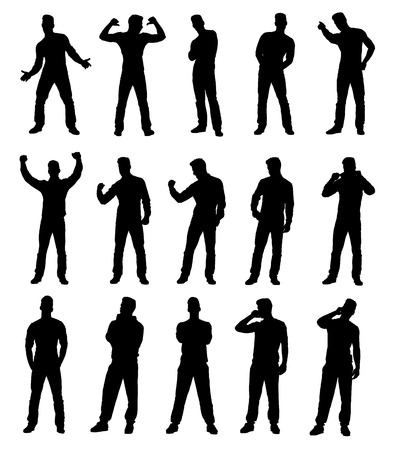 Set collection of various different man silhouettes in different poses. Easy editable layered vector illustration. Vettoriali