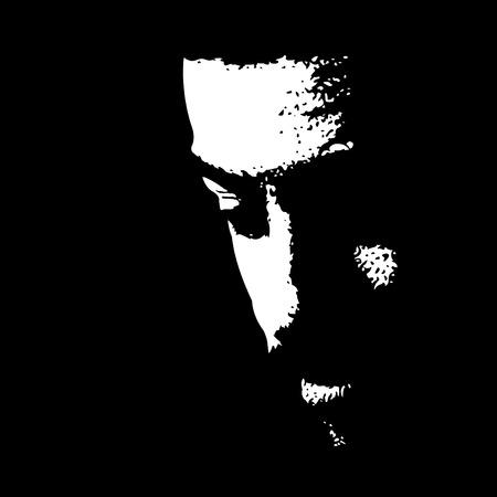 Hombre joven con bigote mirando hacia abajo iluminado en la oscuridad. Fácil ilustración vectorial editable. Ilustración de vector
