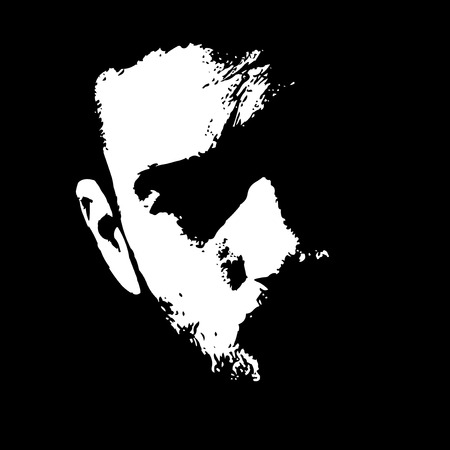 black grunge background: Close up of serious man face portrait illuminated in the dark. Easy editable vector illustration.