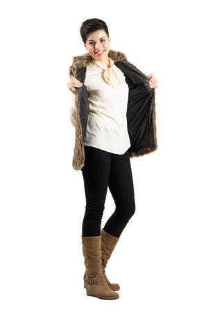 Gorgeous short hair woman fashion model posing. Full body length portrait isolated over white background. photo