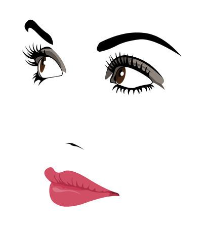 생각에 잠겨있는: 멀리보고 잠겨있는 여자의 얼굴의 벡터 초상화. 쉬운 편집 가능한 벡터 그림은 계층.