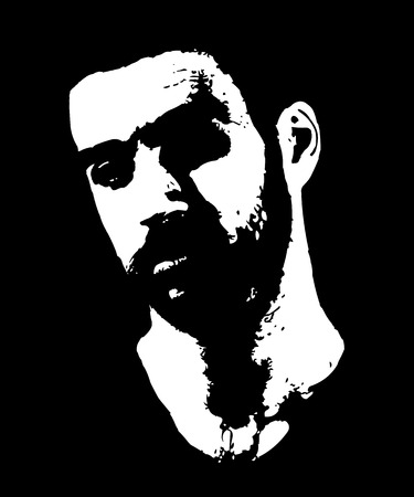 High contrast low key portrait of bearded serious manly guy.  Easy editable layered vector illustration.