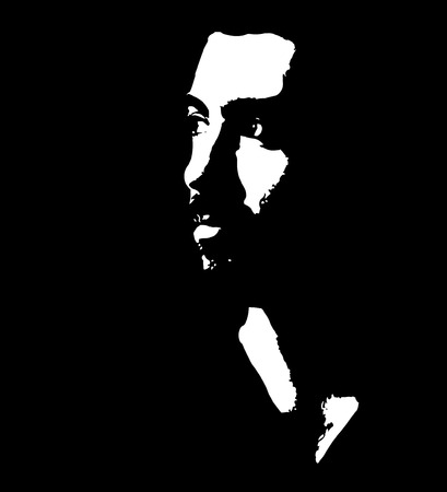 Black and white low key portrait of pensive young bearded man looking away. Easy editable layered vector illustration.