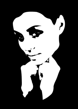 white people: Black and white low key high contrast portrait of beautiful young woman. Easy editable layered vector illustration. Illustration