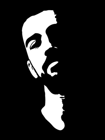 manly: Black and white high contrast portrait of confident young man with head lean back.  Easy editable layered vector illustration. Illustration