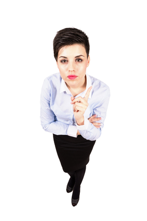 wagging: Young short hair angry bossy manager wagging forefinger. High angle view wide lens full body length portrait isolated over white background Stock Photo