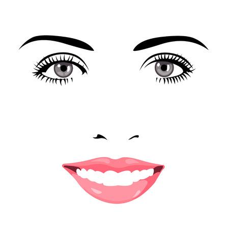 カメラに笑顔青い綺麗な目女性顔の簡単な編集可能な階層型ベクトル イラスト。