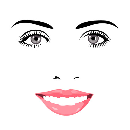 eye drawing: Easy editable layered vector illustration of beautiful blue eye woman face smiling at camera.