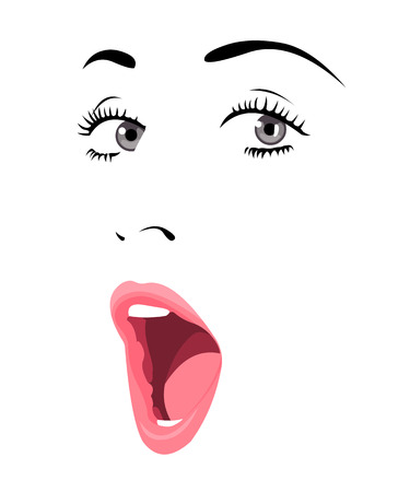 Easy editable layered vector illustration of beautiful blue eye woman with surprise expression.
