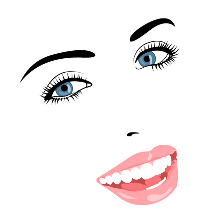 face make up: Vector line portrait of beautiful smiling blue eye woman face. Easy editable illustration.