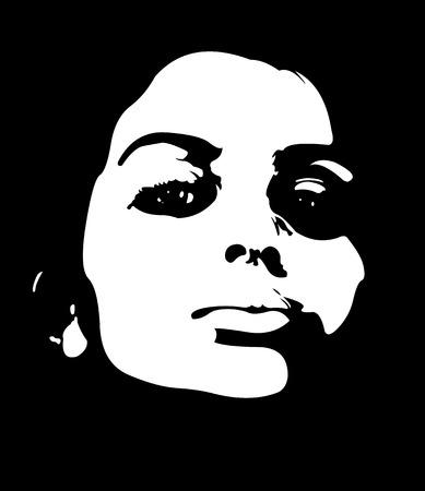 Low key beauty woman vector portrait. Illustration