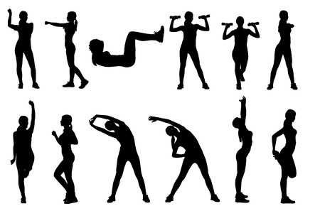 stretching exercise: Set or collection of various woman sports exercising silhouettes. Easy editable layered vector illustration.
