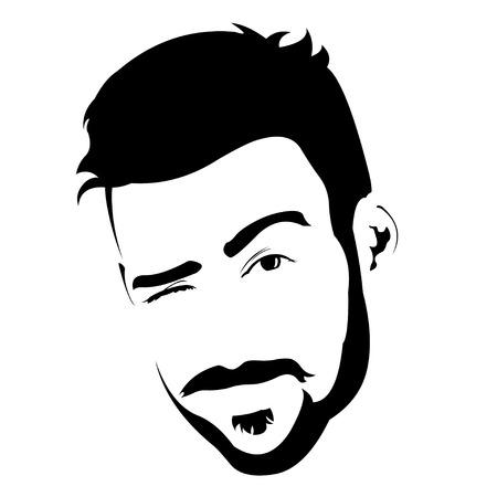hombre barba: Retrato de hombre joven con barba encantadora guiño a la cámara. Fácil ilustración vectorial capas editables.