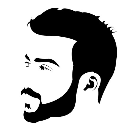 black eyes: Profile view of young bearded man looking away. Easy editable layered vector illustration.